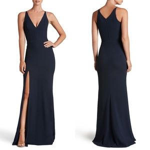 DRESS THE POPULATION Iris Slit Crepe Gown Midnight